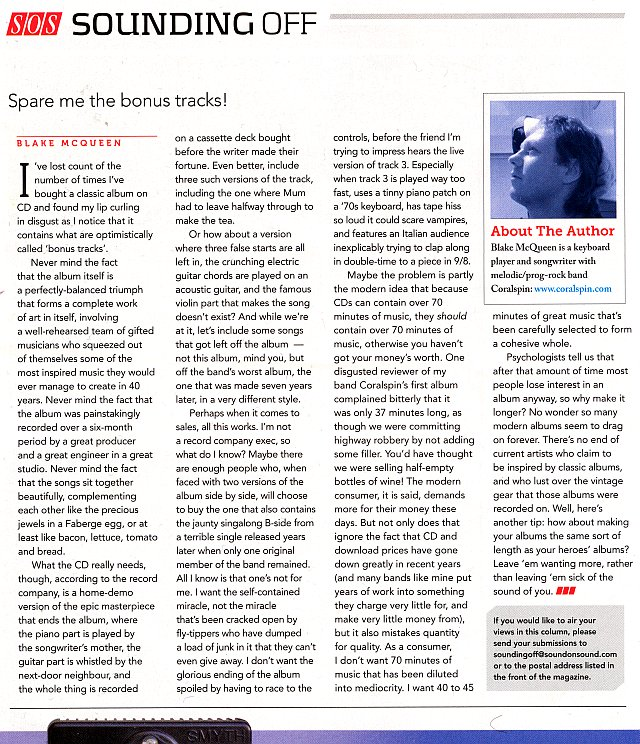 Sound on Sound Sounding Off June 2013 Blake McQueen