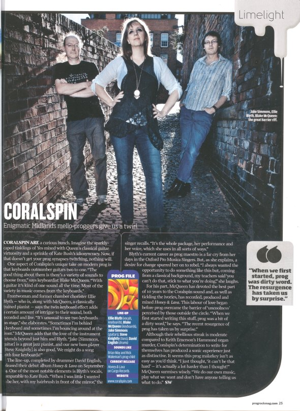 Coralspin Limelight feature in Prog magazine Nov 2012