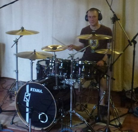 Ed Gorrod recording drums Coralspin June 2013